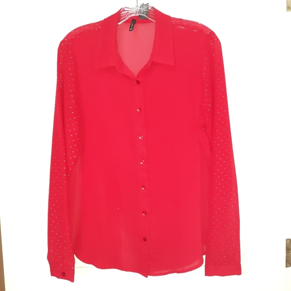 new directions Tops - ❄🏷Ladies Red Sheer Blouse Medium